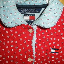 Tommy Hilfiger Girl's Red Dress Toddler 3 Kids High End Cotton Blue Flowers Cute Photo