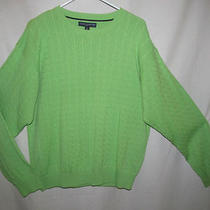 Tommy Hilfiger Golf Bright Green Cable Sweater Men's Large Euc Photo