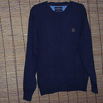 Tommy Hilfiger Golf Cable Knit Sweater Men's Large Navy Blue Photo