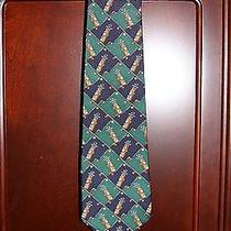 Tommy Hilfiger Golf Clubs Neck Tie - Navy Blue and Green - 100% Italian Silk Photo