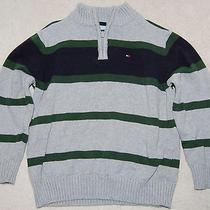 Tommy Hilfiger Half Zip Pullover Sweater Size 6 Boys Gray W/ Green & Blue Stripe Photo