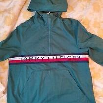 Tommy Hilfiger Jacket Men Size Small 1/4 Zip Hoodie Green Fleece Sweater Photo