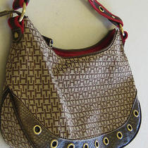 Tommy Hilfiger Ladies Large Brown and Red Purse Photo