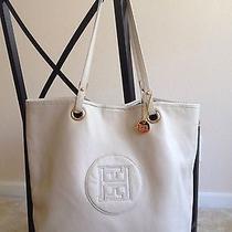 Tommy Hilfiger Large Ivory Leather Tote Handbag Shoulder Purse Bag Photo