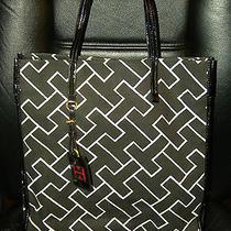 Tommy Hilfiger Logo Black Tote Double Handle Center Shoulder Bag Photo