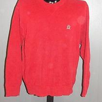 Tommy Hilfiger Long Sleeve Crew Neck Pullover Solid Red Sweater Xl X-Large Crest Photo