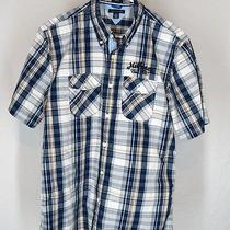Tommy Hilfiger M Med Blue Plaid S/s Casual Shirt Embroidered Trim Fit Grunge Hip Photo