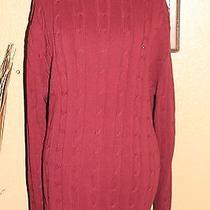 Tommy Hilfiger (Men's l) Burgundy Ls 100% Cotton Crewneck Logo Sweater - Nwot Photo