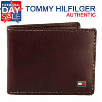 Tommy Hilfiger Men's Premium Leather Billfold Id Case Wallet Tan 4435-04 New Photo