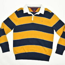 Tommy Hilfiger Men's Size 2xl Pullover Sweater Collared  Cotton Yellow Striped C Photo