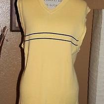 Tommy Hilfiger (Men's Xl) Pale Yellow W/blue Stripes Cotton Sweater Vest - Euc Photo