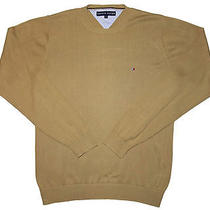 Tommy Hilfiger Men Sweater Solid Brown Size S 100% Cotton Crewneck Long Sleeve Photo