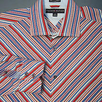 Tommy Hilfiger Mens 100% Cotton Shirt Patriotic American Stripes Ls  Large L Photo