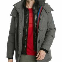 Tommy Hilfiger Mens Glide Ski Jacket Gray Size 2xl Stripe Zip-Up Hooded 349 Mcd Photo