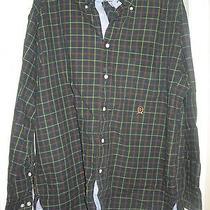 Tommy Hilfiger Mens Green Plaid Crest L/s Fall Button Down Shirt Top L Photo