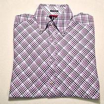 Tommy Hilfiger - Mens Ls Button Front Plaid Shirt 100% Cotton Size M Photo