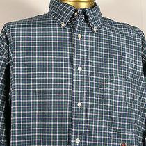 Tommy Hilfiger Mens Shirt 100% Cotton Ls Button Up Dress Shirt Xl Green Checks  Photo