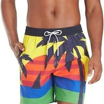 Tommy Hilfiger Mens Swimwear Blue Yellow Size 2xl Tropical Palm Trunks 79 010 Photo