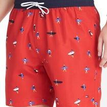 Tommy Hilfiger Mens Swimwear Red Size Large  L Printed Swimtrunks 69 450 Photo