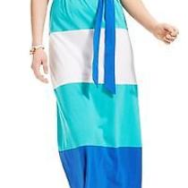 Tommy Hilfiger New Ceramic Blue Colorblock Women's Size Medium M Maxi Dress 89- Photo