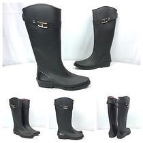 Tommy Hilfiger New Coreen Black Rubber Designer Knee High H Logo Rain Boots Sz 8 Photo