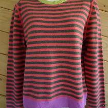 Tommy Hilfiger Pink Gray Striped Lambswool Angora Pull Over Sweater Size L Photo