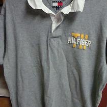 Tommy Hilfiger Polo Golf Shirt Short Sleeve Mans Raised Logo S/s Gray Large L Photo