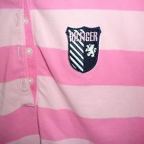 Tommy Hilfiger Polo Shirt Shot Sleeve L Slim Fit  Multi-Pink Stipe Sheild Logo Photo