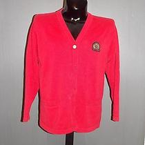 Tommy Hilfiger Red Long Sleeve Button Down Cardigan Large H Crest Patch Photo