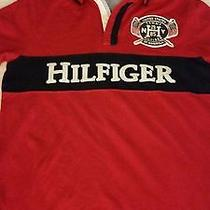 Tommy Hilfiger Red W/blue Polo Short Sleeve Embroidered Name & Logo  Size M/l Photo