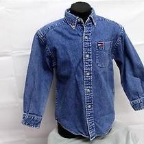 Tommy Hilfiger Shirt Size 6 Boy Jean Long Sleeve 100% Cotton Button Down Collar Photo