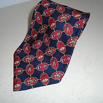 Tommy Hilfiger Silk Golf Tie Silk Italy Golfer Pin Bag Trophy Navy Blue Red Gold Photo