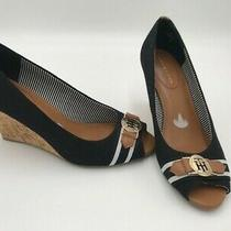 Tommy Hilfiger Size 8 Black/brown Cork Wedge Heel Slip on Peep Toe Shoes New Photo