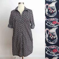 Tommy Hilfiger Size Medium Button Down Pitcher Cup Print Pattern Shirt Dress  Photo