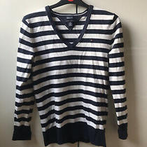 Tommy Hilfiger Striped Cotton Jumper Blue White Size Small Photo