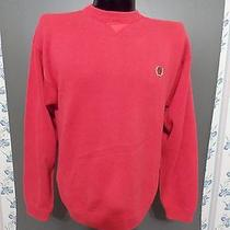 Tommy Hilfiger Sweater Large Red Soft Fine Gauge 100% Cotton Crewneck L/s  Photo