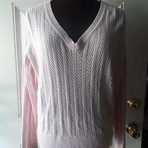 Tommy Hilfiger Sweater Pink Size Xl v Neck Longsleeve Cotton Top Photo