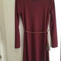Tommy Hilfiger Sz S Comfy M Slim L Red Navy Checker  Geometry Long Sleeve Dress Photo