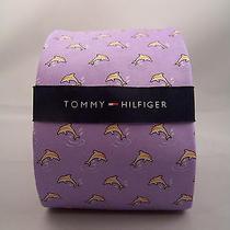 Tommy Hilfiger Tie Mens Neck Tie Dolphins Purple Silk Mans Fashion Accessory Photo