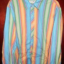 Tommy Hilfiger Woman's Bright Multi-Color Striped L/s Button Front Shirt Sz 24 Photo