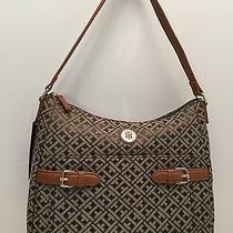 Tommy Hilfiger Woman's Handbag Olive Multicolor W/gold Hobo Tote Purse New Photo