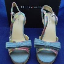 Tommy Hilfiger Women's Denim Wedges Strappy Sandals Platforms Heels Shoes Us 8 Photo