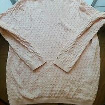 Tommy Hilfiger Women's Light Pink Lightweight Cable Knit v Neck Sweater Size Xxl Photo