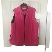 Tommy Hilfiger Womens Pink With Black Lining 1x  Fleece Vest Full Zip Front Eu Photo