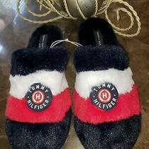 Tommy Hilfiger Womens Slippers House Shoes Large 9-10 Blue W/ White & Red Nwt Photo