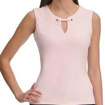 Tommy Hilfiger Womens Blouse Blush Pink Small S Grommet Keyhole Tank 49 501 Photo