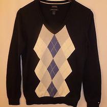 Tommy Hilfiger Womens Medium Pima Cotton v Neck Argyle Sweater Photo