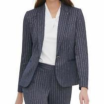 Tommy Hilfiger Womens Navy Striped Blazer Jacket Size 12 Photo