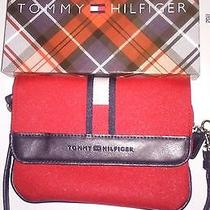 Tommy Hilfiger Wristlet Slim Zip Clutch Folder Over Small Purse Red New in Box Photo