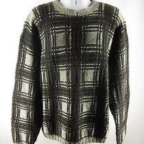Tommy Hilfiger Xl Hand Knit 100% Wool Heather Gray Burgundy Plaid Sweater Euc Photo